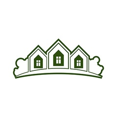 Abstract of country houses with horizon line vector