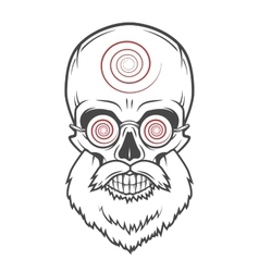 Bearded skull with hypnotic glasses crazy vector
