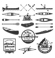 Rafting canoeing and kayak elements set vector