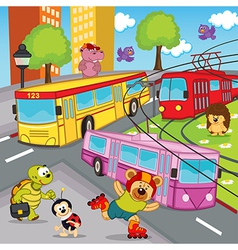 Animals trolleybus tram bus vector