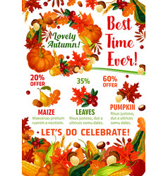 autumn season sale promotion poster template vector image