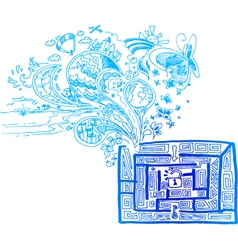 Blue maze with doodles vector image