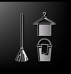 Broom bucket and hanger sign gray 3d vector