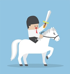 Businessman riding white horse and holding sword vector image vector image