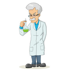 cartoon of a professor holding a lab tube vector image