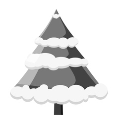 Christmas tree icon gray monochrome style vector