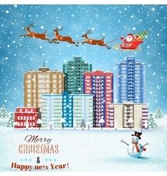 Christmas winter city street vector