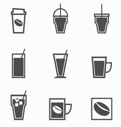 Coffee drinks icons collection on white background vector image vector image