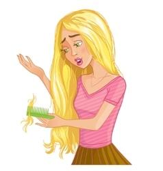 Cure blond cartoon girl with hair fall eps10 vector