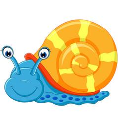 cute snail cartoon running vector image