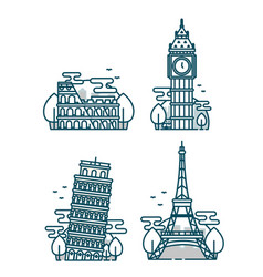 european attractionsparis eiffel tower vector image