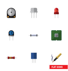 Flat icon technology set of unit resistor vector
