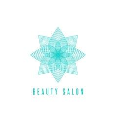 Flower logo monogram thin line style floral beauty vector