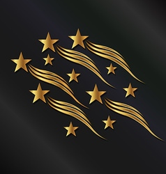 Gold stars waves vector image