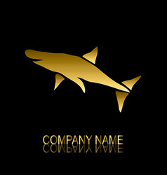 golden shark symbol vector image vector image