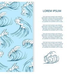hand drawn sea storm waves banner design vector image