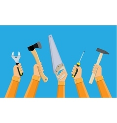 hands of workers holding building tools vector image