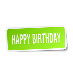 Happy birthday square sticker on white vector