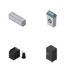 Isometric business set of wall cooler garbage vector