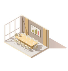 Isometric low poly office conference room vector