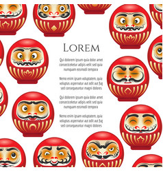 Japanese red daruma dolls poster vector