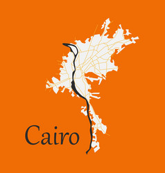 Map of cairo city streets egypt flat view vector