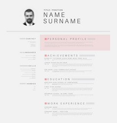 minimalistic black and white cv resume template vector image vector image