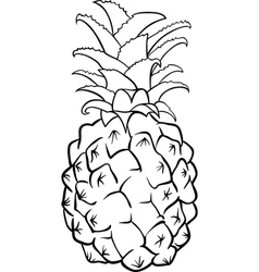 pineapple fruit for coloring book vector image vector image