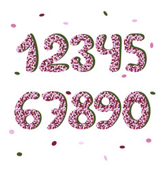 Pink confetty doodle numbers font vector