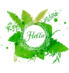 Postcard with the words hello on green watercolor vector