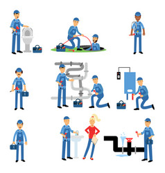 Professional plumber at work set plumbing service vector