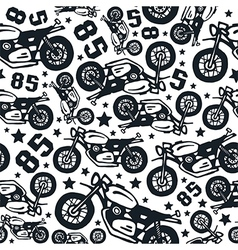 Seamless pattern with motorcycles drawings vector