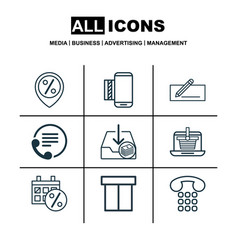 Set of 9 commerce icons includes box callcentre vector