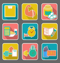 Set of flat icons diet and fitness vector image