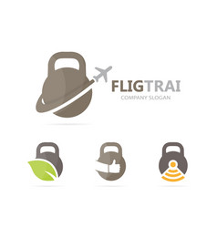 Sport and airplane logo combination gym vector