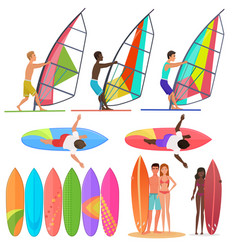 Surfer people collection surfboards top and vector