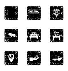 Valet parking icons set grunge style vector image
