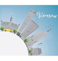 Warsaw skyline with grey buildings vector