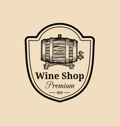 Wine logo winery sign with wooden barrel vector