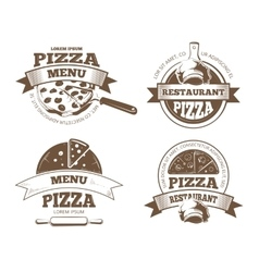 Retro pizzeria labels logos badges vector