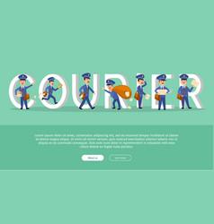 Courier conceptual web banner with cartoon postman vector
