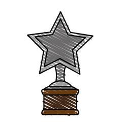 color crayon stripe image cartoon trophy with vector image