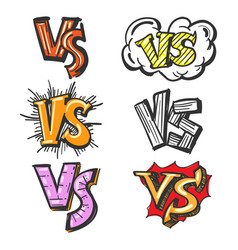 Colorful cartoon vs labels vector