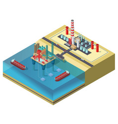 Colorful petroleum industry isometric concept vector