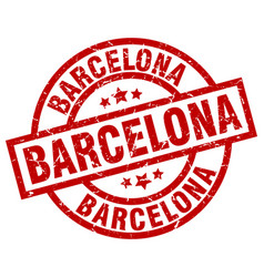 Barcelona red round grunge stamp vector