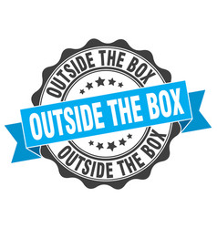 Outside the box stamp sign seal vector
