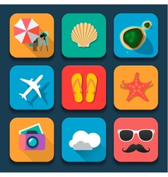 Summer traveling flat design icons set vector