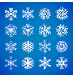 set-of-white-snowflakes-on-blue vector image
