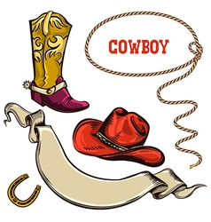 Cowboy american objects vector image