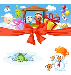 Funny christmas design with nativity vector